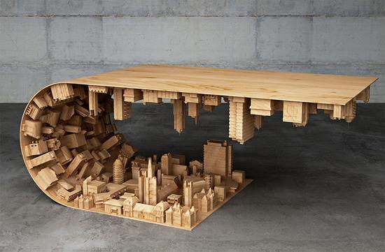 """塞浦路斯设计师打造""""翻转城市""""咖啡桌(图)"""