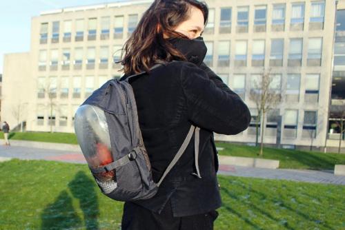 荷兰大学生研发植物背囊对抗空气污染(图)